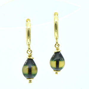 Aylas 21ct gold plated 925 silver Hoop Green Amber handmade earrings - Ottoman Handmade Jewellery Hand Made Gold Plated