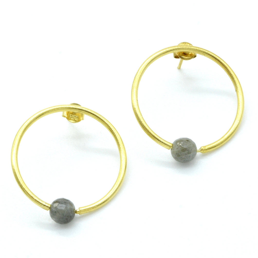 Aylas 21ct gold plated 925 silver Hoop Labradorite handmade earrings - Ottoman Handmade Jewellery Hand Made Gold Plated