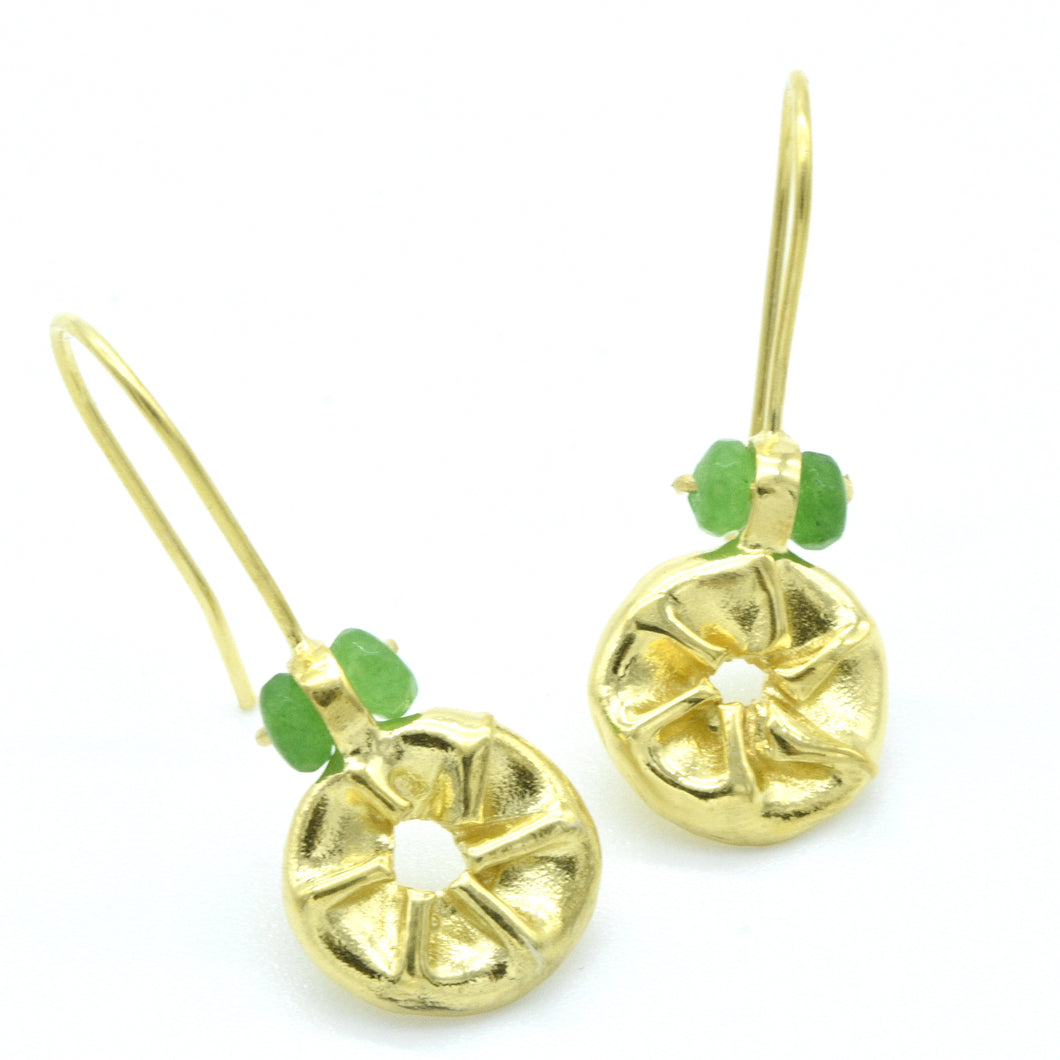 Aylas Jade earrings - 21ct Gold plated 925 Silver - Handmade Ottoman style