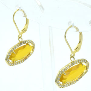 Aylas Crystal quartz earrings - 21ct Gold plated 925 Silver - Handmade in Ottoman style