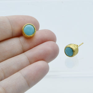 Aylas Turquoise earrings - 21ct Gold plated semi precious gemstone - Handmade in Ottoman Style by Artisan