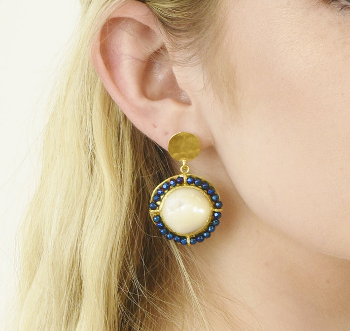 Aylas Pearl and Mystic Gem earrings - 21ct Gold plated semi precious gemstone - Handmade in Ottoman Style by Artisan