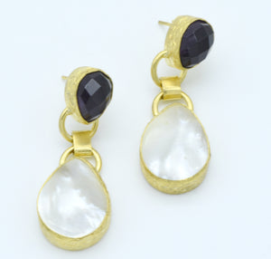 Aylas Amethyst Pearl earrings - 21ct Gold plated semi precious gemstone - Handmade in Ottoman Style by Artisan