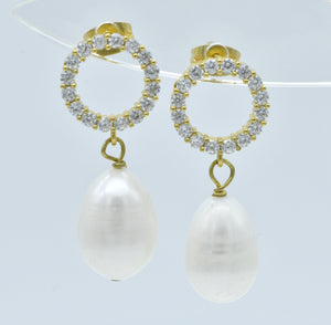 Aylas Pearl Zircon earrings - 21ct Gold plated semi precious gemstone - Handmade in Ottoman Style by Artisan