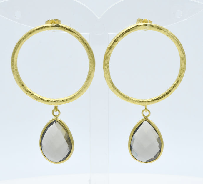 Aylas Smoky quartz earrings - 21ct Gold plated semi precious gemstone - Handmade in Ottoman Style by Artisan