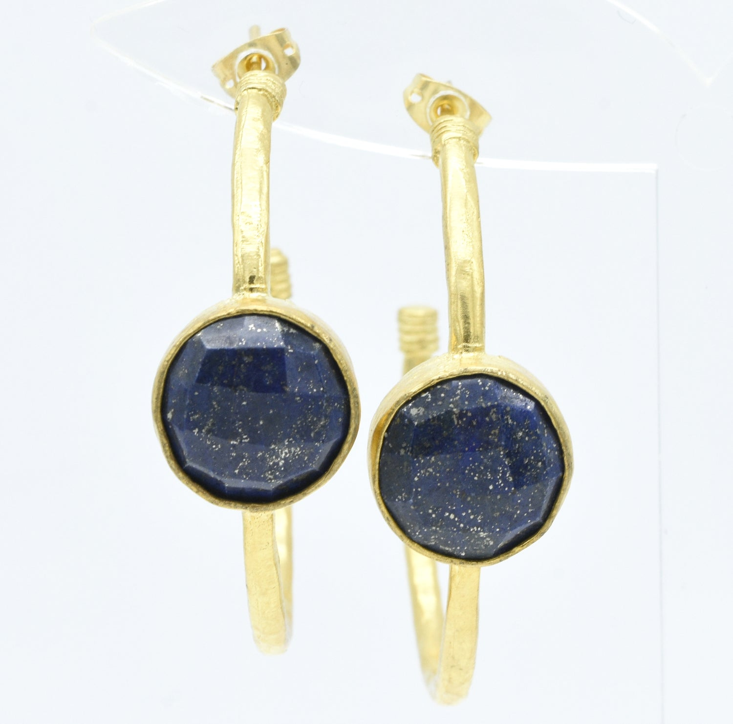 Aylas Lapis Lazuli earrings - 21ct Gold plated semi precious gemstone - Handmade in Ottoman Style by Artisan