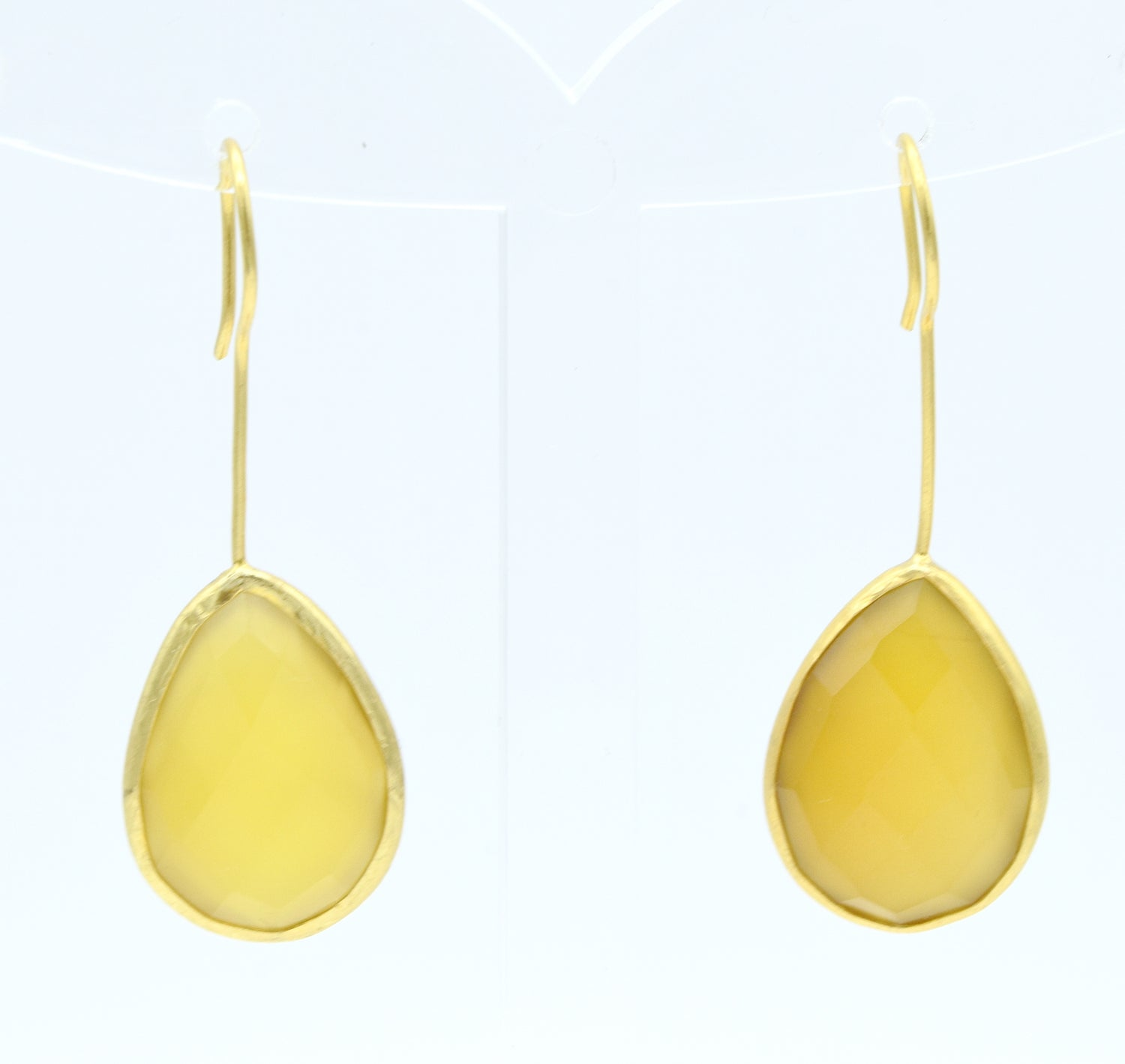 Aylas Chalcedony earrings - 21ct Gold plated semi precious gemstone - Handmade in Ottoman Style by Artisan