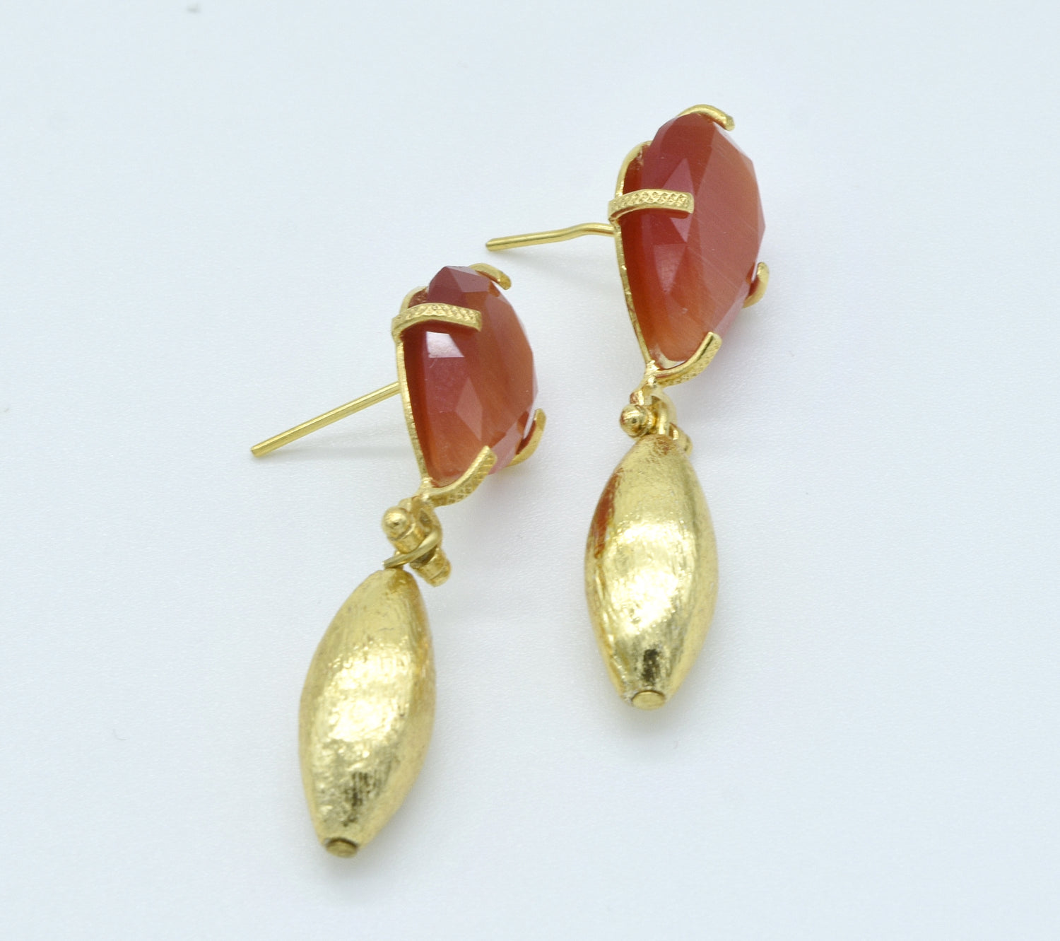 Aylas Cat Eye earrings - 21ct Gold plated semi precious gemstone - Handmade in Ottoman Style by Artisan