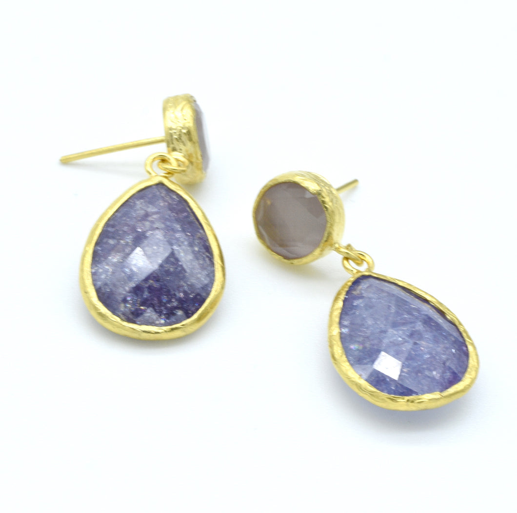 Aylas Cat Eye and Crackled Zircon earrings - 21ct Gold plated semi precious gemstone - Handmade in Ottoman Style by Artisan