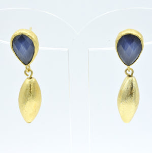 Aylas CatEye earrings - 21ct Gold plated semi precious gemstone - Handmade in Ottoman Style by Artisan
