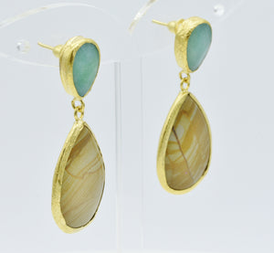 Aylas Jasper and Agate earrings - 21ct Gold plated semi precious gemstone - Handmade in Ottoman Style by Artisan