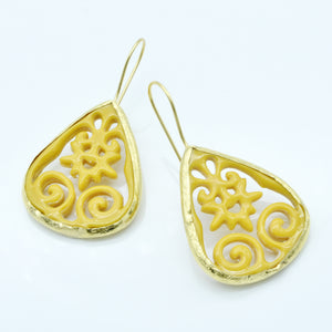 Aylas Acrylic earrings - 21ct Gold plated semi precious gemstone - Handmade in Ottoman Style by Artisan