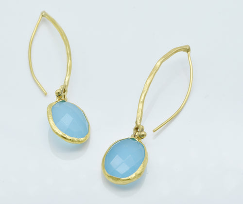Aylas Aqua Marine earrings - 21ct Gold plated semi precious gemstone - Handmade in Ottoman Style by Artisan