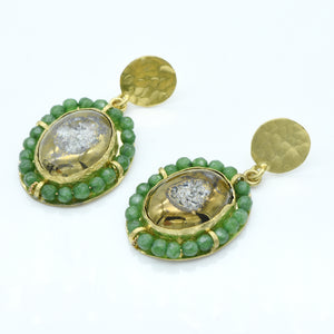 Aylas Hematite and Agate earrings - 21ct Gold plated semi precious gemstone - Handmade in Ottoman Style by Artisan