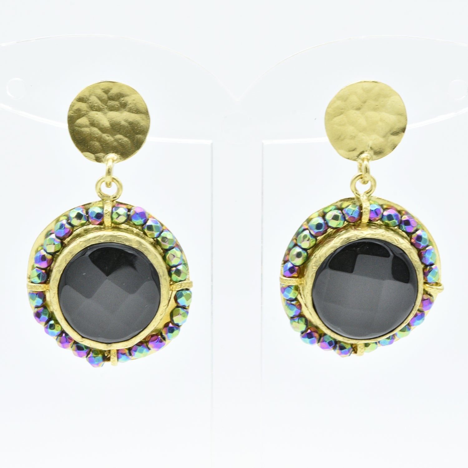 Aylas Onyx and Mystic Gem earrings - 21ct Gold plated semi precious gemstone - Handmade in Ottoman Style by Artisan