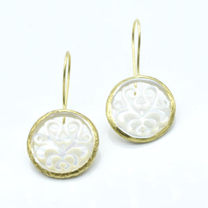 Aylas Mother of Pearl earrings - 21ct Gold plated semi precious gemstone - Handmade in Ottoman Style by Artisan