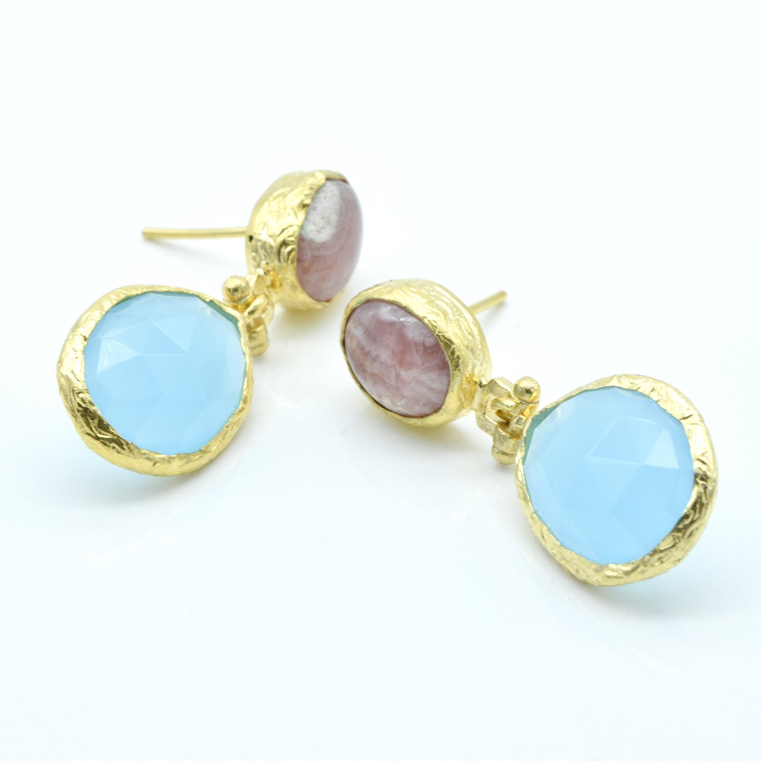 Aylas Agate and Aqua Marine earrings - 21ct Gold plated semi precious gemstone - Handmade in Ottoman Style by Artisan