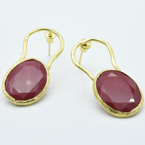 Aylas Tourmaline earrings - 21ct Gold plated semi precious gemstone - Handmade in Ottoman Style by Artisan