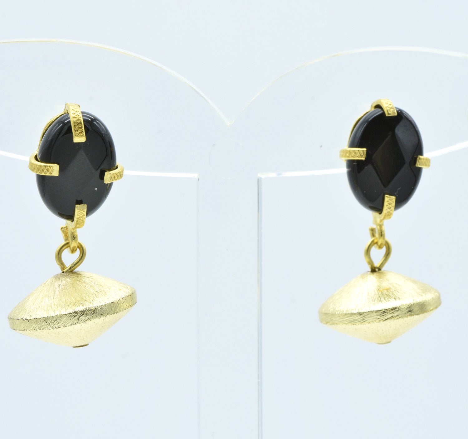 Aylas Onyx earrings - 21ct Gold plated semi precious gemstone - Handmade in Ottoman Style by Artisan