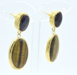 Aylas Tiger eye and Agate earrings - 21ct Gold plated semi precious gemstone - Handmade in Ottoman Style by Artisan