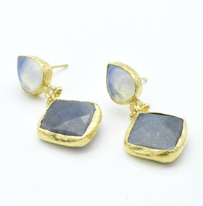 Aylas Moonstone and Labradorite earrings - 21ct Gold plated semi precious gemstone - Handmade in Ottoman Style by Artisan