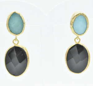 Aylas Onyx and Agate earrings - 21ct Gold plated semi precious gemstone - Handmade in Ottoman Style by Artisan