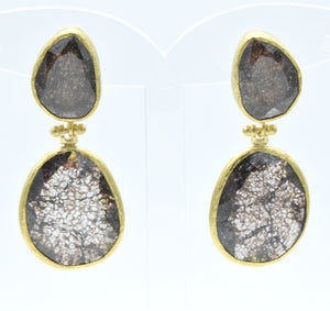 Aylas Crackled Zircon earrings - 21ct Gold plated semi precious gemstone - Handmade in Ottoman Style by Artisan