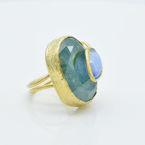 Aylas Crackled zircon and Cat eye ring - 21ct Gold plated brass - Handmade in Ottoman Style by Artisan