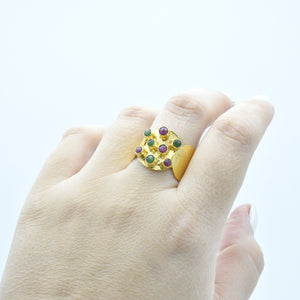 Aylas Ruby and Emerald adjustable ring - 21ct Gold plated 925 silver - Handmade in Ottoman Style by Artisan