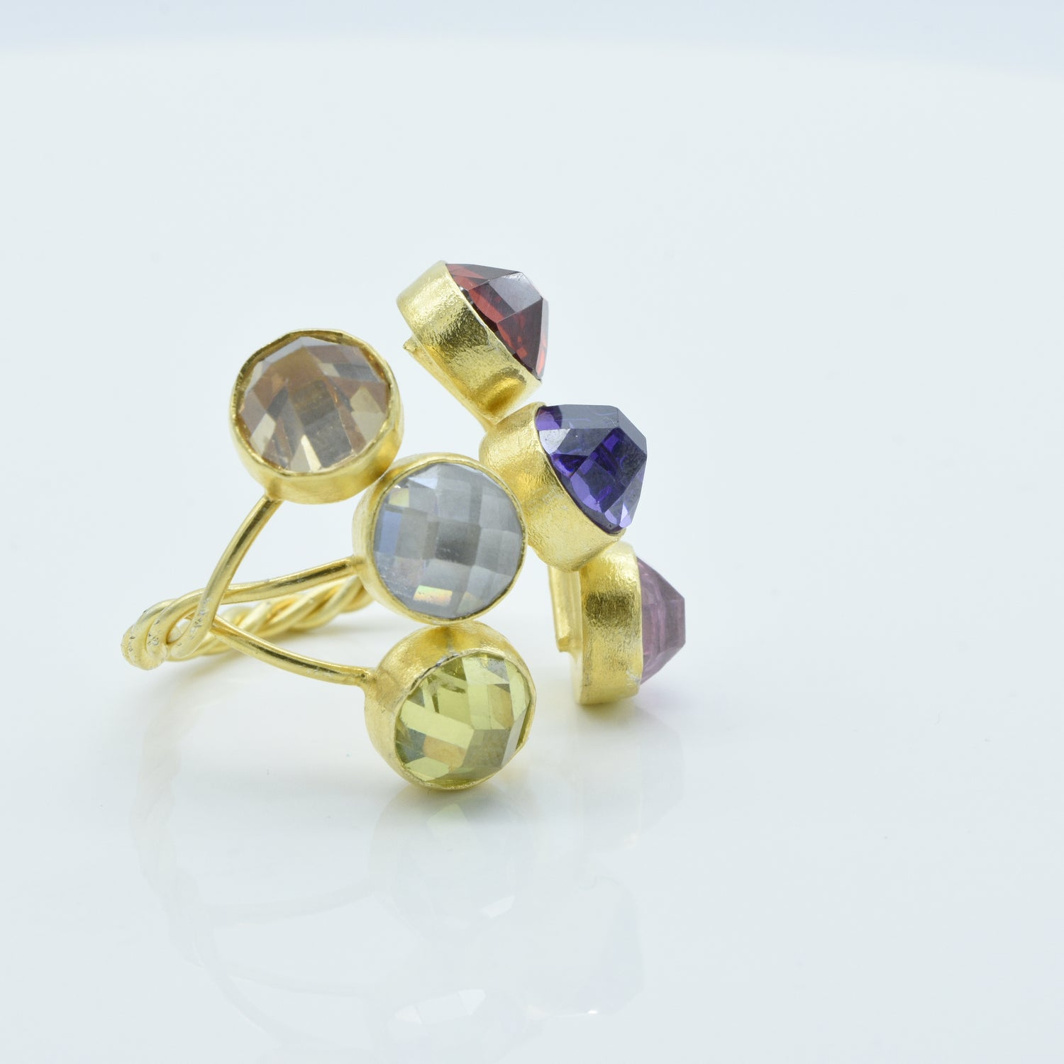 Aylas Crystal Quartz adjustable ring - 21ct Gold plated 925 silver - Handmade in Ottoman Style by Artisan