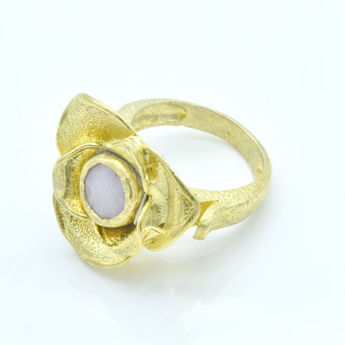 Aylas Agate Rose ring - 21ct Gold plated 925 silver - Handmade in Ottoman Style by Artisan