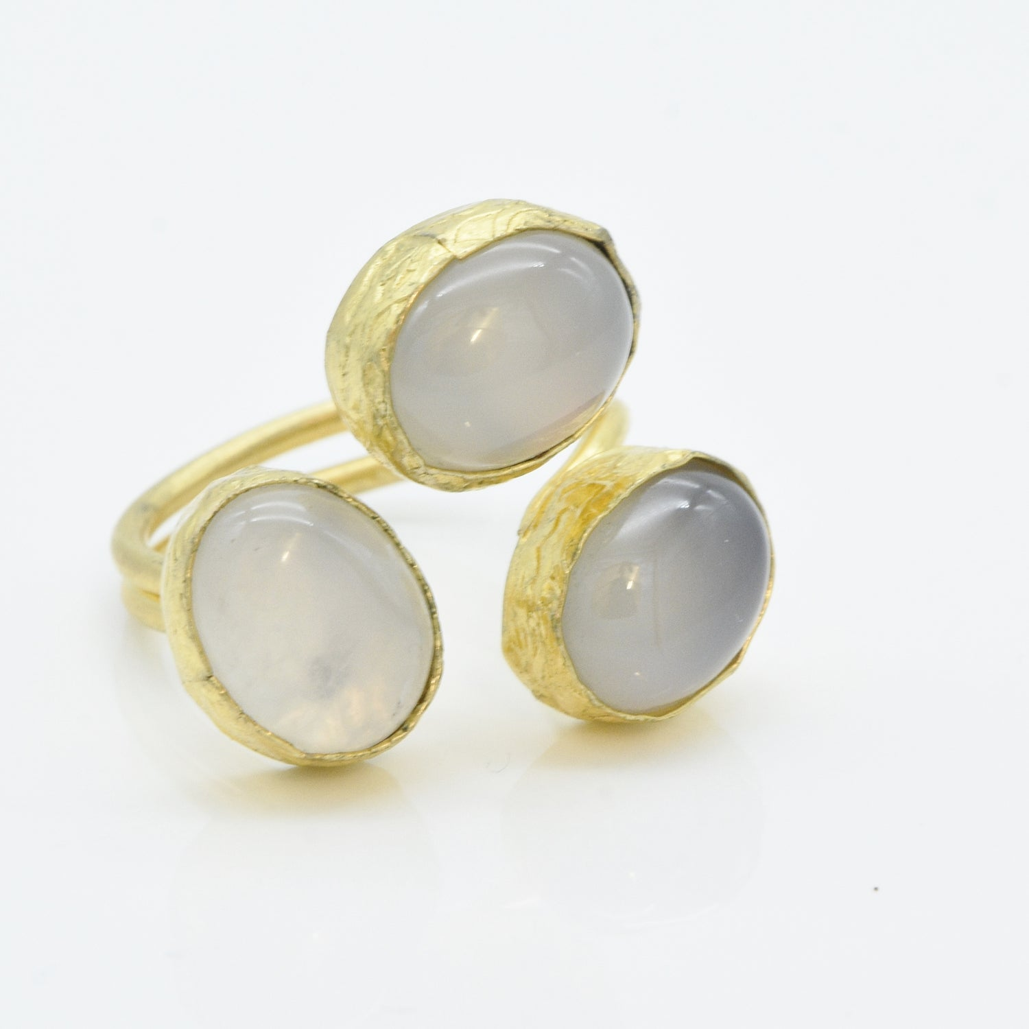 Aylas Agate adjustable ring - 21ct Gold plated brass - Handmade in Ottoman Style by Artisan