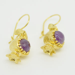 Aylas Pomegranate Agate - Gold plated semi precious gemstone - Handmade in Ottoman Style