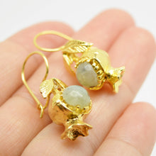 Aylas Pomegranate Agate - Gold plated semiprecious gemstone - Handmade in Ottoman Style