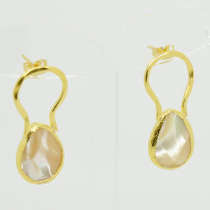 Aylas gold plated semi precious gem stone Mother Pearl earrings handmade - Ottoman Handmade Jewellery Hand Made Gold Plated