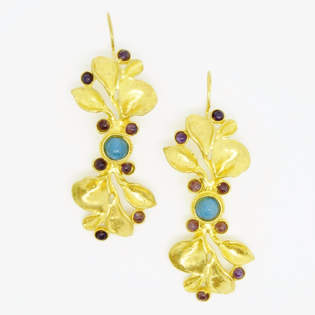 Aylas Agate earrings - Gold plated semi precious gemstone - Handmade in Ottoman Style