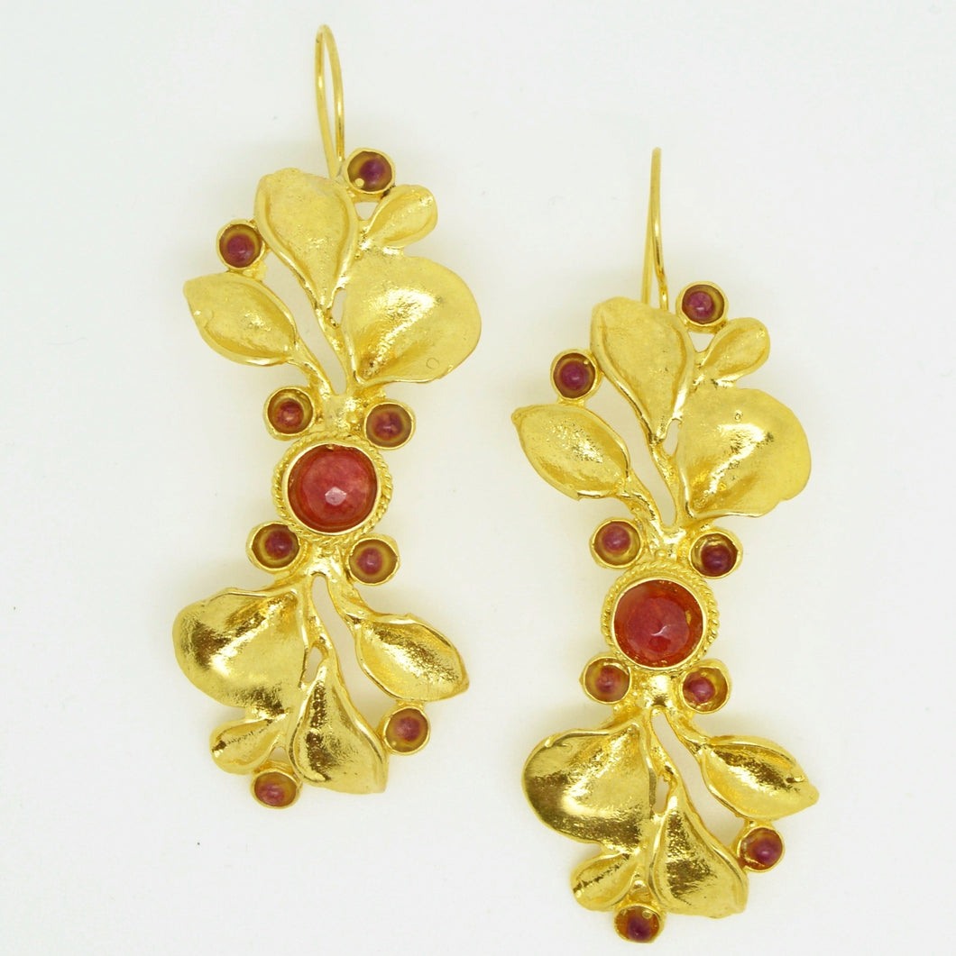 Aylas Agate earrings - Gold plated semiprecious gemstone - Handmade in Ottoman Style