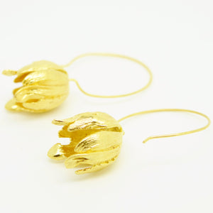 Aylas Tulip Hoop earrings - Gold plated - Handmade in Ottoman style