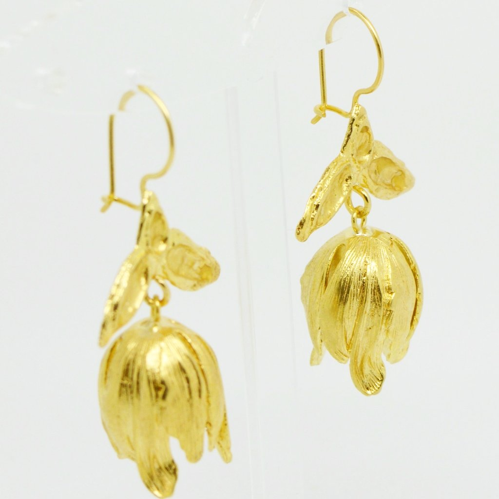 Aylas Drop Tulip earrings - Gold plated - Handmade in Ottoman style