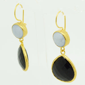 Aylas gold plated semi precious gem stone earrings Agate Tourmaline - Ottoman Handmade Jewellery Hand Made Gold Plated