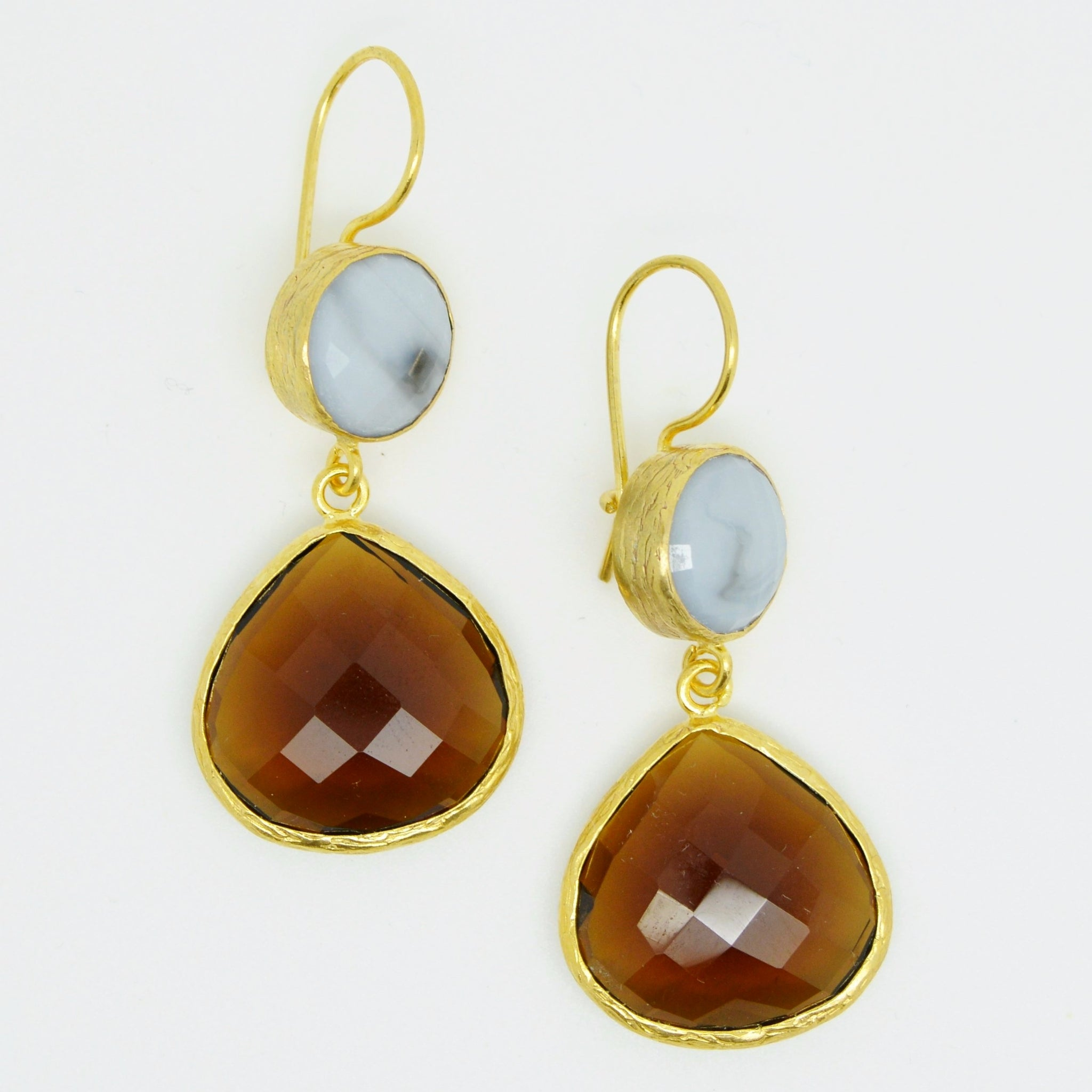 earrings semi drop stone aquamarineqrtz single precious p