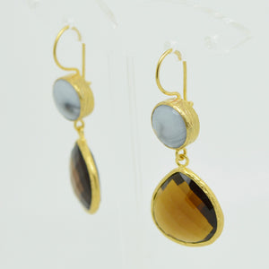 Aylas gold plated semi precious gem stone earrings Agate Smoky quartz - Ottoman Handmade Jewellery Hand Made Gold Plated