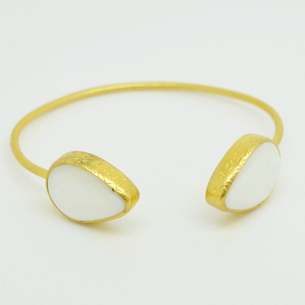 Aylas Mother Pearl Bracelet / Bangle - 21ct Gold plated semi precious gemstone - Handmade in Ottoman Style by Artisan