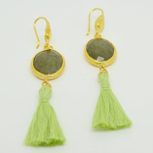 Aylas Tassel Labradorite earrings - Gold plated semi precious gemstone - Handmade in Ottoman Style