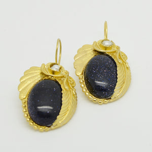 Aylas Blue Goldstone earrings - 21ct Gold plated semi precious gemstone - Handmade in Ottoman Style by Artisan