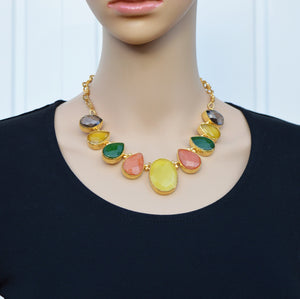 Aylas gold plated semi precious gem stone Chalcedony Smoky quartz Agate necklace - Ottoman Handmade Jewellery Hand Made Gold Plated