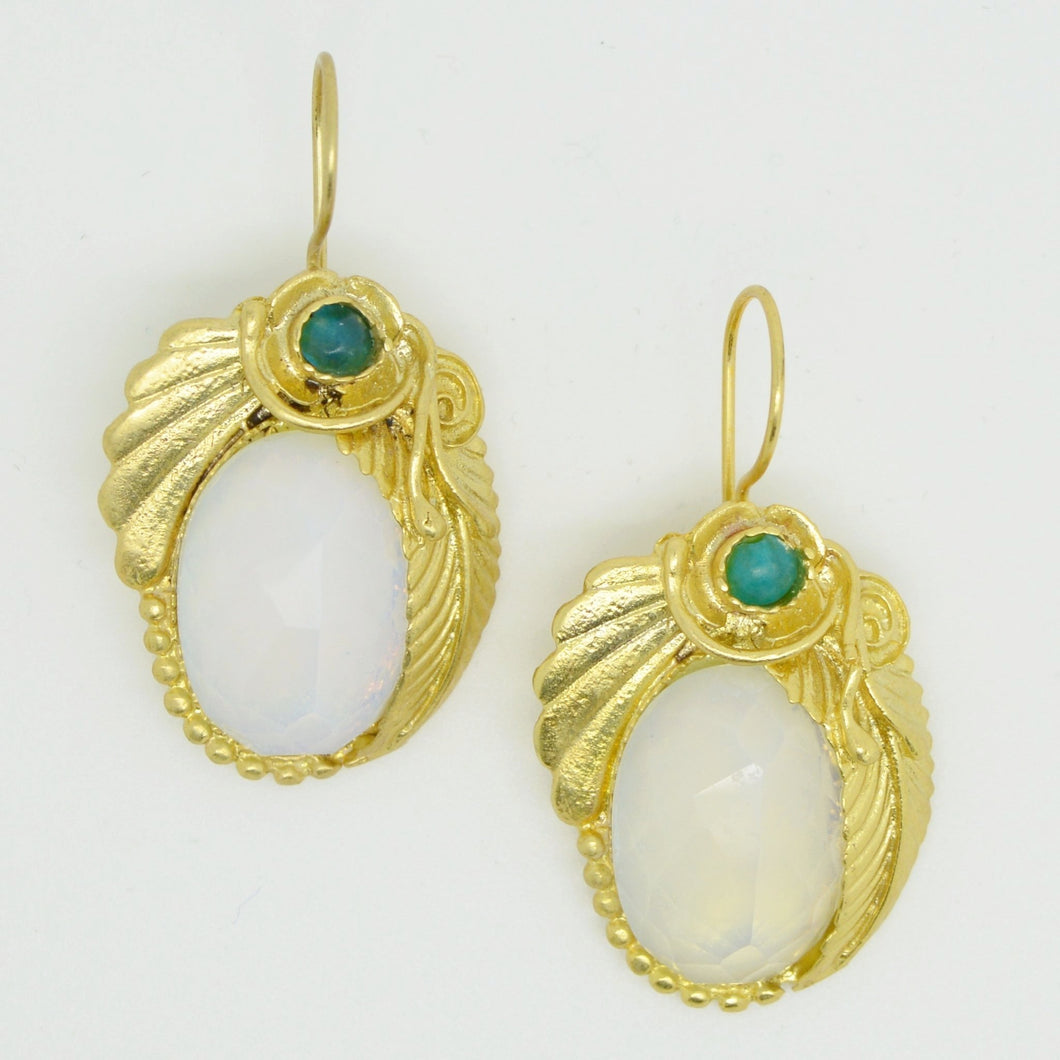 Aylas Moonstone earrings - 21ct Gold plated semi precious gemstone - Handmade in Ottoman Style by Artisan