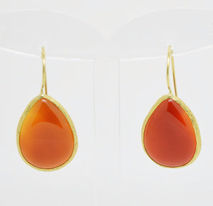 Aylas Amber earrings - 21ct Gold plated semi precious gemstone - Handmade in Ottoman Style by Artisan