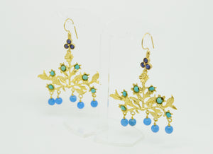 Aylas Agate earrings - 21ct Gold plated semi precious gemstone - Handmade in Ottoman Style by Artisan