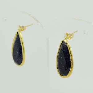 Aylas gold plated semi precious gem stone earrings teardrop Blue gold stone - Ottoman Handmade Jewellery Hand Made Gold Plated